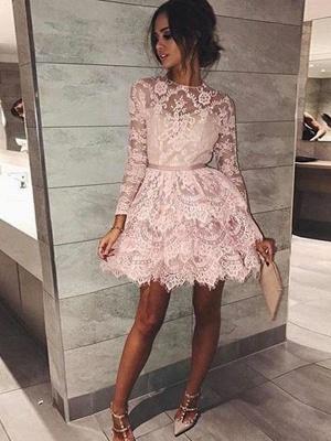 Mangas largas elegantes vestidos de fiesta | Cuello Redondo Rosado una línea de vestidos de cóctel_1