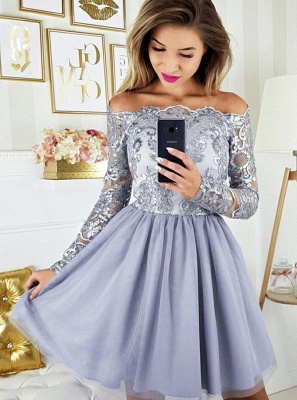 2019 Short Off the Shoulder Quince Dama Dresses | Long Sleeves Lace Dama Dresses Cheap_3