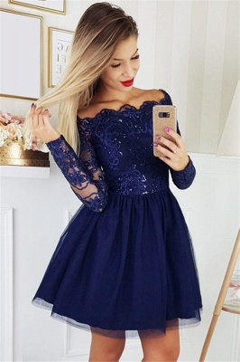 2019 Short Off the Shoulder Quince Dama Dresses | Long Sleeves Lace Dama Dresses Cheap_6