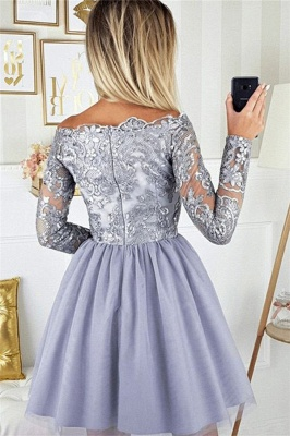2019 Short Off the Shoulder Quince Dama Dresses | Long Sleeves Lace Dama Dresses Cheap_4