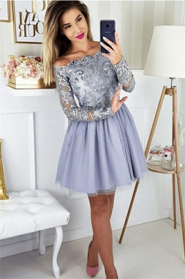 2019 Short Off the Shoulder Quince Dama Dresses | Long Sleeves Lace Dama Dresses Cheap_1