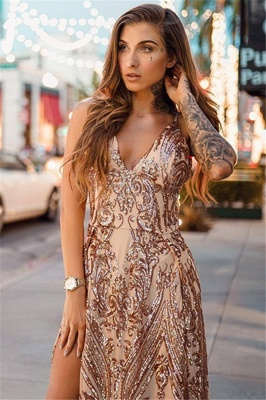 Glamorous Sexy V-Neck Sequins Long Formal Dresses | Alluring Open Back Split Prom Dress_3