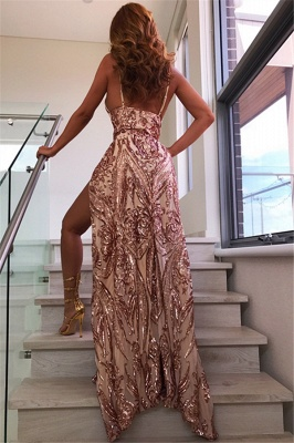 Glamorous Sexy V-Neck Sequins Long Formal Dresses | Alluring Open Back Split Prom Dress_1