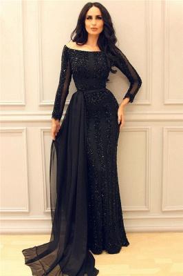 Granos negros de manga larga lentejuelas vestidos de noche | Vestidos de fiesta baratos atractivos de la envoltura del tren de la gasa 2019_1