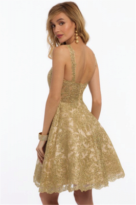 New Arrival Sleeveless Straps Quinceanera Dama Dress | 2019 Gold Lace Appliques Knee-Length Short Dresses_3