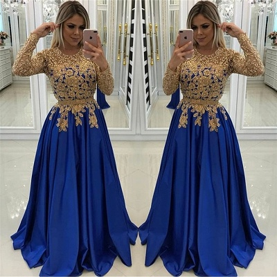 Gold Beads Lace Appliques Evening Dress with Sleeves | Royal Blue Affordable Banquet Dresses_3