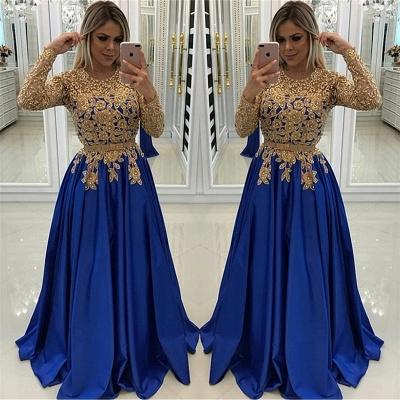 Vestido de noche con apliques de encaje | Azul Real baratos vestidos de baile 2019 y abalorios de cuentas de oro_3