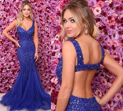 Elegant Royal Blue Straps Formal Dresses | Affordable Crystal Open Back Sleeveless Banquet Dresses Online_3