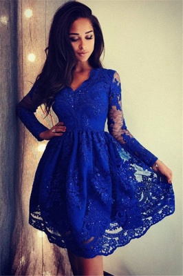 Royal Blue Long Sleeves Sexy V-Neck Dama Dresses 2019 | Cheap Lace Short Dama Dresses_1