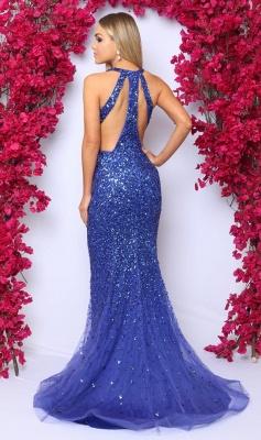 Vestidos de fiesta sin mangas con cuello en V sexy 2019 | Vestido de noche de cristal azul real_3