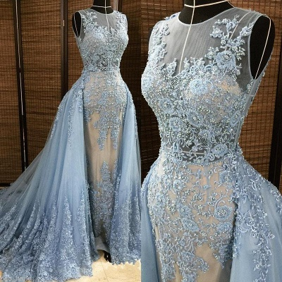 Glamorous Sheath Sleleveless Long Formal Dresses | Lace Appliques Beads Alluring Prom Dress with Overskirt_3