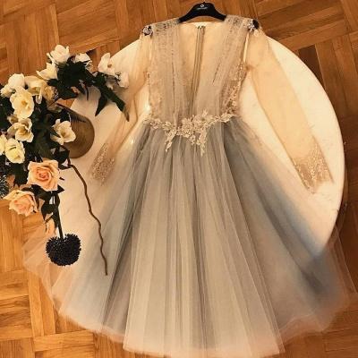 Vestidos elegantes de una línea de tul Homecoming | Vestidos de cóctel con cuello en V manga larga de encaje apliques_3
