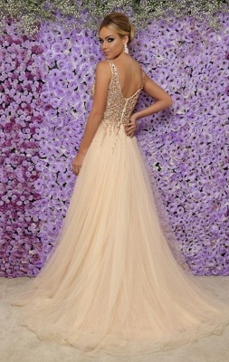 Alluring Sexy V-Neck Sleeveless Long Formal Dresses | Tulle Crystal Side Slit Banquet Dresses Affordable_3