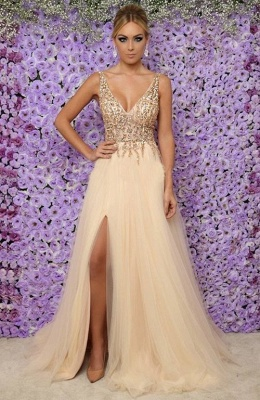 Alluring Sexy V-Neck Sleeveless Long Formal Dresses | Tulle Crystal Side Slit Banquet Dresses Affordable_1