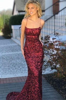 Long Red Sequins Formal Dresses | Open Back Sheath Sleeveless Banquet Dresses Affordable_1