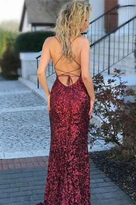 Long Red Sequins Formal Dresses | Open Back Sheath Sleeveless Banquet Dresses Affordable_3