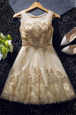 Champagne Gold Beading Dama Dresses 2019 | Gold Belt Crystals Short Dama Dresses Cheap_1