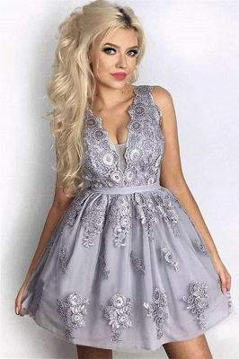 Silver Quinceanera Sleeveless Short Dama Dresses | 2019 Lace Dama Dress Cheap_1