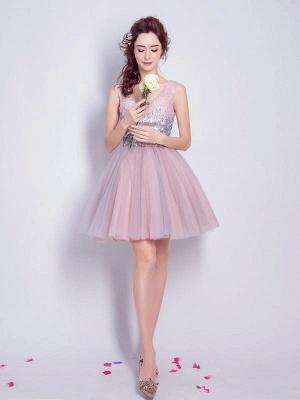 Una línea de lentejuelas vestidos de fiesta corto | con cordones con cuello en v_1