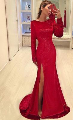 Vestidos de noche de lentejuelas rojas Sexy Lado de la hendidura | Vestidos de fiesta baratos de manga larga 2019_1