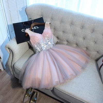 Una línea de lentejuelas vestidos de fiesta corto | con cordones con cuello en v_5