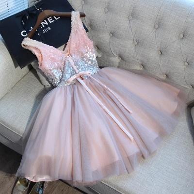 Una línea de lentejuelas vestidos de fiesta corto | con cordones con cuello en v_6