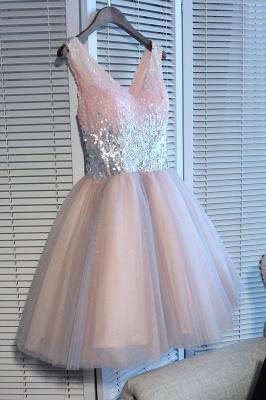 Una línea de lentejuelas vestidos de fiesta corto | con cordones con cuello en v_4