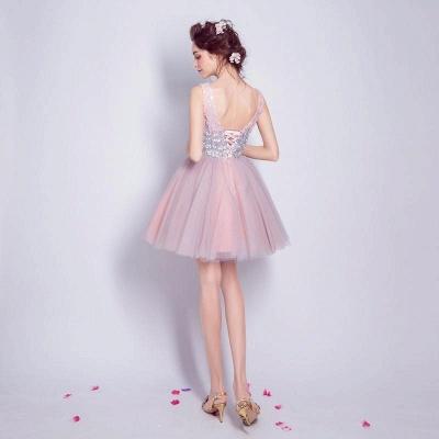 Una línea de lentejuelas vestidos de fiesta corto | con cordones con cuello en v_3