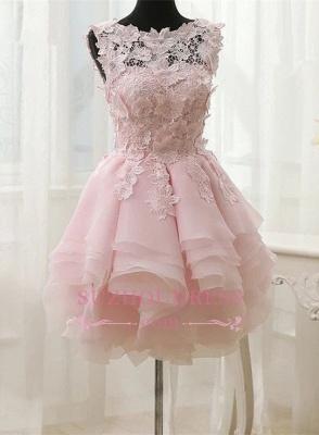 Sleeveless Cute Short Flowers Straps Ruffles Dama Dress_4