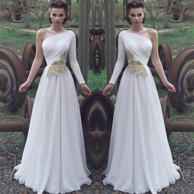 One Shoulder Chiffon Alluring Formal Dresses | Affordable One Sleeve Formal Quinceanera Cheap Evening Dresses Online_3
