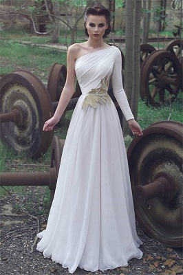 One Shoulder Chiffon Alluring Formal Dresses | Affordable One Sleeve Formal Quinceanera Cheap Evening Dresses Online_1