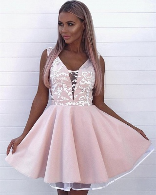 Elegant Pink Sleeveless Short Dama Dresses 2019 | Appliques Quinceanera Cheap Dama Dress_3