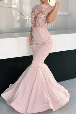 Alluring Pink Mermaid Long Formal Dresses | Cap Sleeves Lace Glamorous Evening Gowns_3
