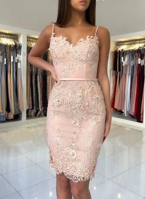 Elegant Pink Sheath Short Dama Dresses Spaghetti-Strap Hot Sleeveless XV Dama Dresses_1