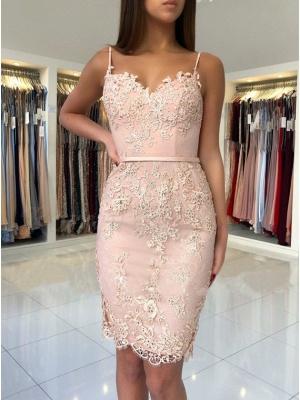 Elegant Pink Sheath Short Dama Dresses Spaghetti-Strap Hot Sleeveless XV Dama Dresses_3