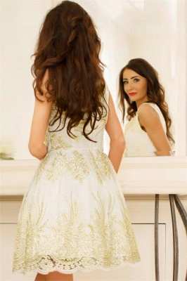 Glamorous Sleeveless Sexy V-Neck Short Dama Dresses | 2019 Gold Appliques Quince Dama Dresses Cheap_3