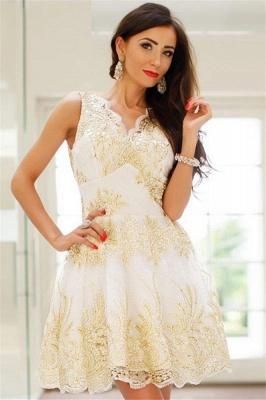 Glamorous Sleeveless Sexy V-Neck Short Dama Dresses | 2019 Gold Appliques Quince Dama Dresses Cheap_4