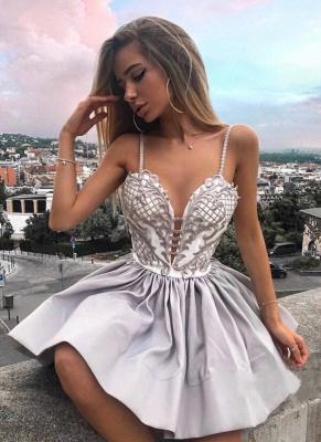 Una línea de correas espaguetis vestidos de fiesta | Apliques de encaje sexy vestidos de cóctel_1