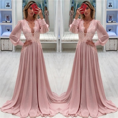 Pink Chiffon Bubble Sleeves Alluring Formal Dresses | Alluring Sexy V-Neck Affordable Formal Dresses_3