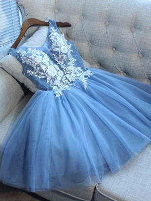 Elegant Sexy V-Neck Sleeveless Short Dama Dresses | 2019 Blue Appliques Quince Dama Dress Cheap_3