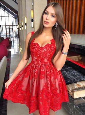 Classic Red Lace Dama Dresses Spaghetti Straps Mini XV Dama Dresses_1