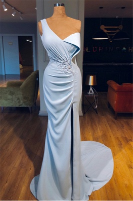 Sky Blue One Shoulder Ruffles Formal Dresses | Alluring Mermaid Side Slit Banquet Dresses_1