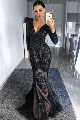 Vestidos de noche con mangas en negro con forro de tul negro | Granos de manga larga apliques vestidos de baile baratos 2019_1