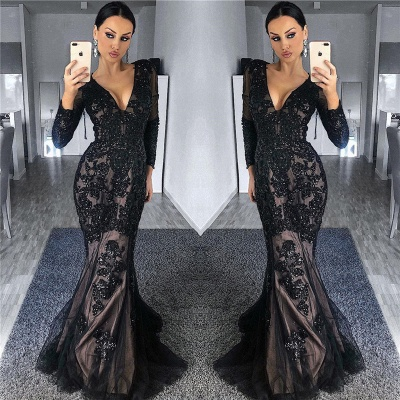 Timeless Black Tulle Nude Lining Formal Dresses with Sleeves | Long Sleeve Beads Appliques Affordable Banquet Dresses_3
