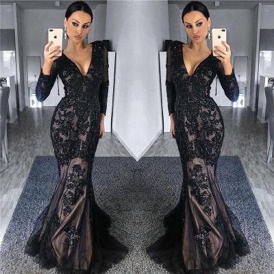 Vestidos de noche con mangas en negro con forro de tul negro | Granos de manga larga apliques vestidos de baile baratos 2019_3
