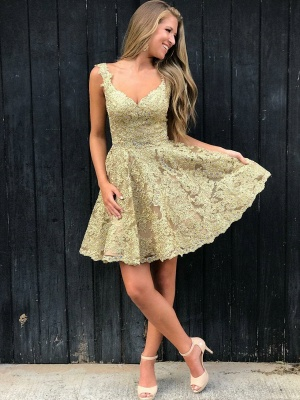 Hot Sexy V-Neck Gold Lace Short Dama Dresses Online | Sleeveless Cheap Quince Dama Dresses 2019 bc1897_3