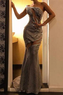 Alluring One Sleeve Mermaid Formal Dresses | Affordable Sequins Sheer Banquet Dresses_1