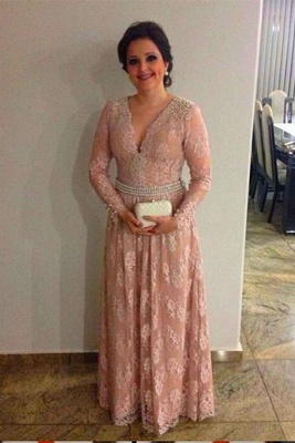 Elegant Lace-Appliques Pearls Long-Sleeve A-line V-neck Long Quinceanera Mother Dress_1