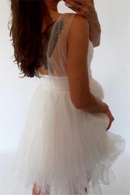 Vestidos de fiesta sin mangas de encaje blanco baratos | Vestidos cortos de hoco con espalda abierta 2019_3