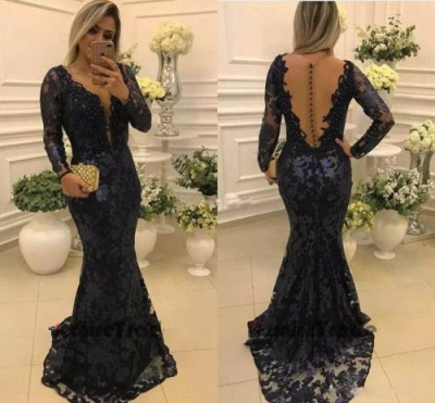 Modern Long Sleeve Mermaid V-neck Lace Zipper Quinceanera Mother Dress_3